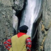 Man Facing A Waterfall Art Print
