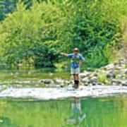 Man Fly Fishing In Canyon Creek Near Winters-california Art Print