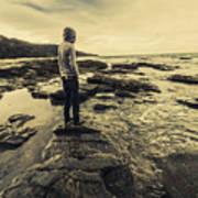 Man Gazing Out On Coastal Rocks Art Print