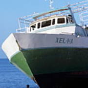 Man Looking Up At A Beached Passenger Ship On Cozumel Island Art Print