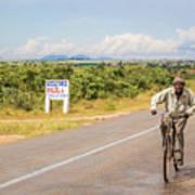 Man On Bicycle In Zambia Art Print