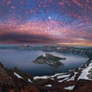 Man On Hilltop Viewing Crater Lake With Full Moon Art Print