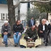 Man Polishing Leather Shoes Shoeshine On Street Mugla Turkey Art Print