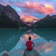 Man Sit On Rock Watching Lake Louise Morning Clouds With Reflect Art Print