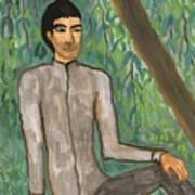 Man Sitting Under Willow Tree Art Print