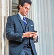 Man Texting Outside Art Print
