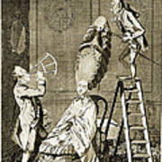 Man Using Sextant On Womans Coiffure Art Print