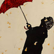 Man With Red Umbrella    Art Print