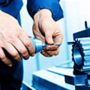 Man Working On Drilling And Boring Machine Art Print