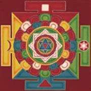 Mandala Of The 5 Elements Earth-water-fire-air-space Art Print by Carmen Mensink