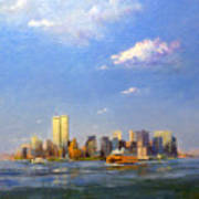 Manhattan And Twin Towers From New York Harbor Art Print