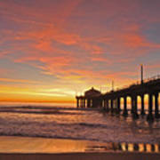 Manhattan Beach Sunset Art Print by Matt MacMillan