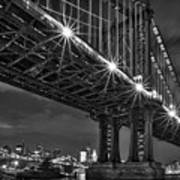Manhattan Bridge Frames The Brooklyn Bridge Art Print by Susan Candelario