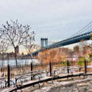 Manhattan Bridge From Brooklyn Bridge Park Art Print
