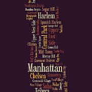 Manhattan New York Typographic Map Art Print by Michael Tompsett