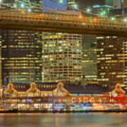 Manhattan Night Skyline I Art Print