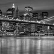 Manhattan Night Skyline Iv Art Print