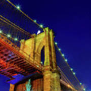 Manhattan Skyline From The Brooklyn Bridge At Dusk Art Print