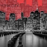 Manhattan Skyline - Graphic Art - Red Art Print