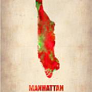 Manhattan Watercolor Map Art Print