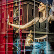 Mannequin In Storefront Window Display With No Escape Art Print