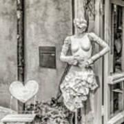 Mannequin On The Street Bw Art Print