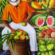 Manuel The Caribbean Fruit Vendor  Art Print by Dominica Alcantara