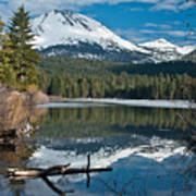 Manzanita Lake Reflects On Mount Lassen Art Print