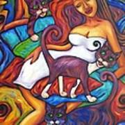 Maori Girl And Three Cats Art Print