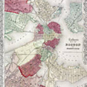 Map: Boston, 1865 Art Print
