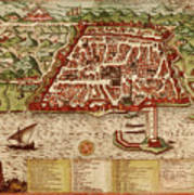 Map Of Algiers 1541 Art Print