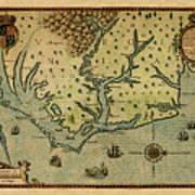 Map Of America 1590 Art Print