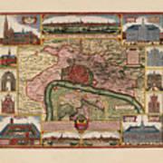 Map Of Antwerp 1675 Art Print