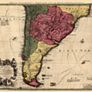 Map Of Argentina 1700 Art Print