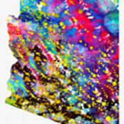 Map Of Arizona-colorful Art Print