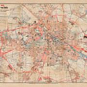 Map Of Berlin 1895 Art Print