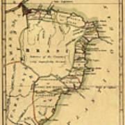 Map Of Brazil 1808 Art Print