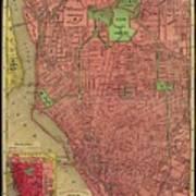 Map Of Buffalo 1896 Art Print