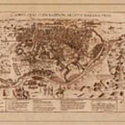 Map Of Cairo 1600 Art Print