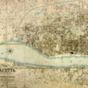 Map Of Calcutta 1857 Art Print