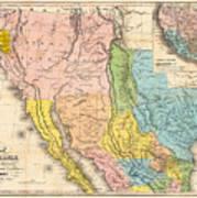 Map Of California New Mexico Texas  1849 Art Print