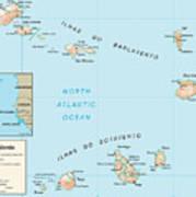 Map Of Cape Verde Art Print