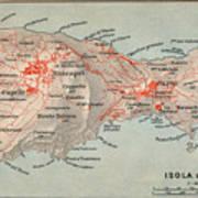 Map Of Capri 1909 Art Print