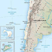 Map Of Chile 2  Art Print