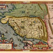 Map Of China 1590 Art Print