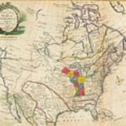 Map Of Colonial North America  Art Print