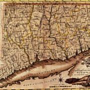 Map Of Connecticut 1795 Art Print