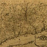 Map Of Connecticut 1797 Art Print