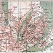 Map Of Copenhagen 1888 Art Print