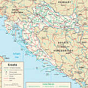 Map Of Croatia Art Print